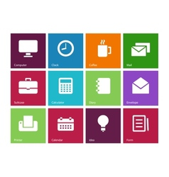 Business color icons vector