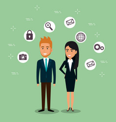 businesspeople with e-mail marketing icons vector image