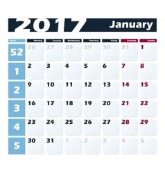 Calendar 2017 January design template Week vector image