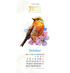 calendar for 2015 october vector image