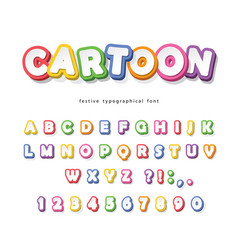 cartoon bright font for kids paper cut out abc vector image