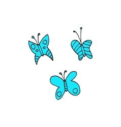 Cartoon butterfly flat sticker icon vector image