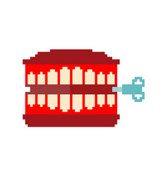Chatter teeth toy pixel art april fools day vector
