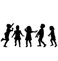 children silhouettes playing on white background vector image