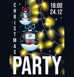 christmas party flyer winter holiday card design vector image