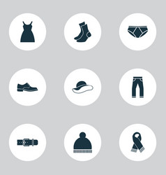 clothes icons set with scarf clothes socks and vector image
