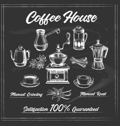 Coffee house poster on chalkboard vector