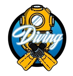 Color vintage diving emblem vector image