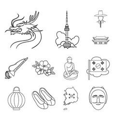 Country south korea outline icons in set vector