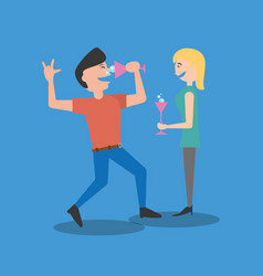 Couple dancing drinking celebration vector