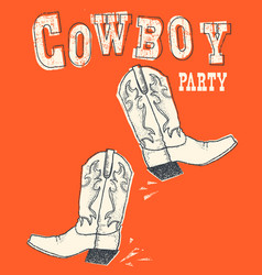 cowboy boot hand drawn graphic vector image