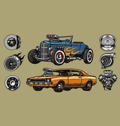 custom cars repair service concept vector image