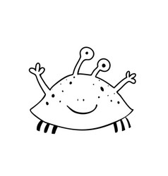 Cute crab or shellfish monster coloring page vector