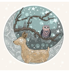 Cute dreaming deer background vector image