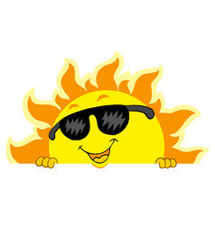 Cute lurking sun with sunglasses vector
