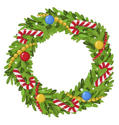 decorated christmas wreath colorful festive vector image