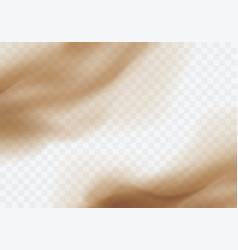 Desert sandstorm brown dusty cloud on transparent vector