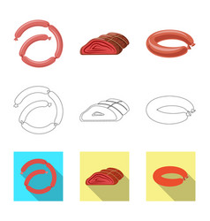 Design of meat and ham symbol collection vector