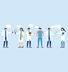 doctors and nurses standing and talking vector image
