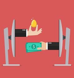 Exchange golden egg and money online vector image