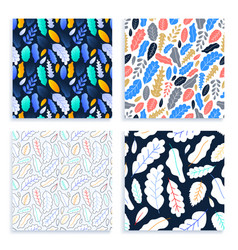 flat and line art leaves seamless pattern set vector image