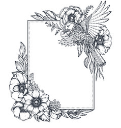 floral frame with bouquets hand drawn vector image
