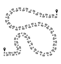footprint pathway from one pointer on map to vector image