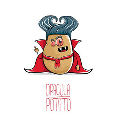 Funny cartoon cute dracula potato with vector