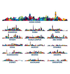 geometric pattern skyline city arabian peninsula vector image