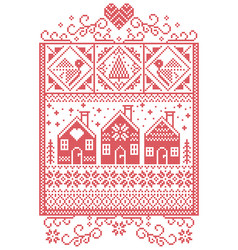 Gingerbread houses christmas pattern vector