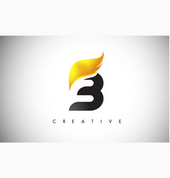 Gold b letter wings logo design with golden bird vector