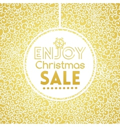 Gold Christmas Sale on doodle seamless pattern vector image
