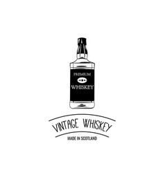 hand draw of whiskey bottle vector image