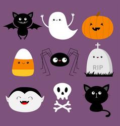 happy halloween bat candy corn ghost spirit vector image