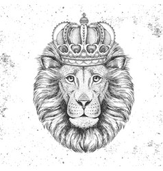 hipster animal lion in crown hand drawing muzzle vector image