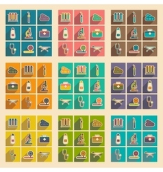 Icons of medical instruments and medicament in vector