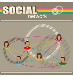 infographic with user face icons social network vector image