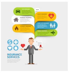 insurance service with bubble speech template vector image