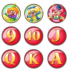 Jesters and letters on round badges vector image vector image