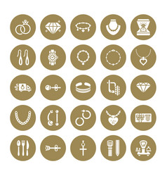 Jewelry flat glyph icons jewellery store signs vector