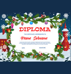 Kids diploma education christmas gift certificate vector