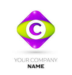 Letter c logo symbol in colorful rhombus vector