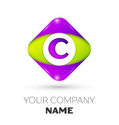 Letter c logo symbol in colorful rhombus vector