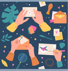 letters envelopes seamless pattern cartoon hands vector image