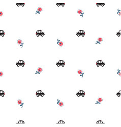 london cartoon cab cars and flowers seamless vector image