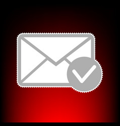 mail sign with allow mark postage vector image