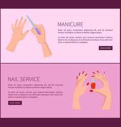 manicure and nail service promo internet pages vector image