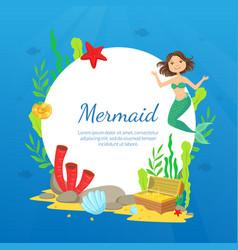 mermaid banner template marine life marine life vector image