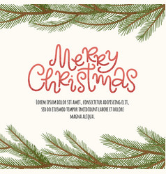 merry christmas pine border vector image