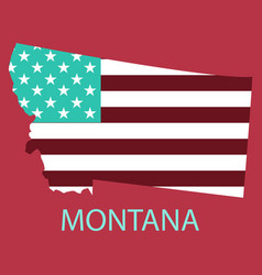 Montana state of america with map flag print on vector